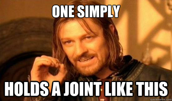 One Simply Holds a joint like this - One Simply Holds a joint like this  Boromir