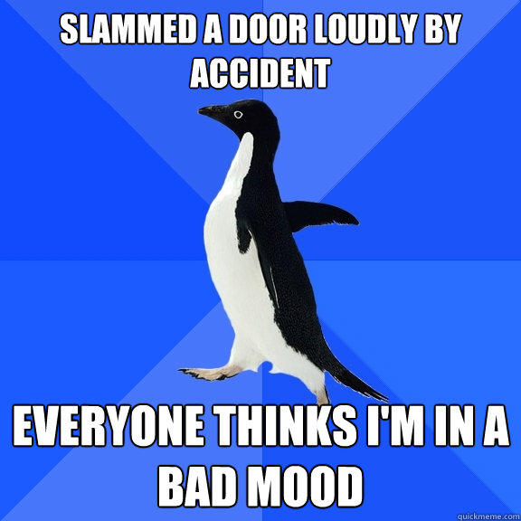 Slammed a door loudly by accident Everyone thinks I'm in a bad mood - Slammed a door loudly by accident Everyone thinks I'm in a bad mood  Socially Awkward Penguin