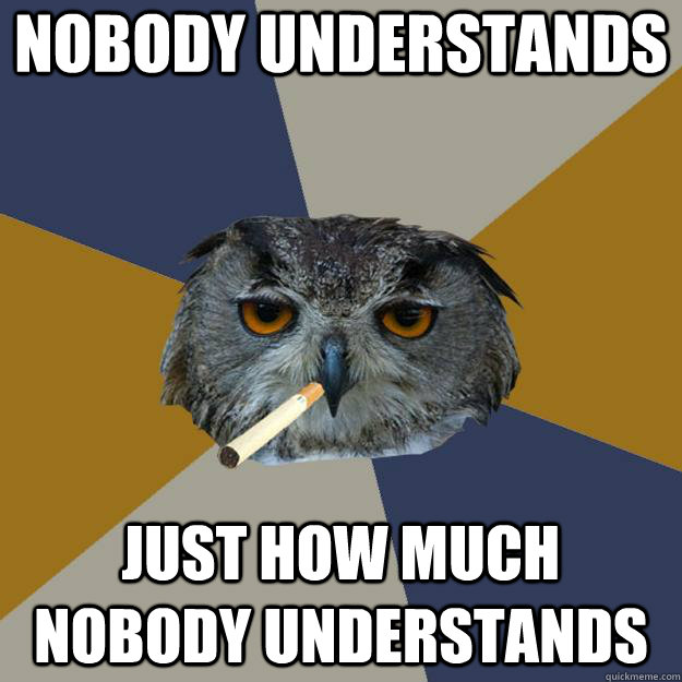 Nobody understands just how much nobody understands  Art Student Owl