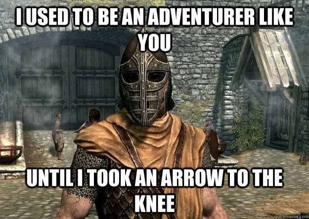 I used to be an adventurer like you Until i took an arrow to the knee - I used to be an adventurer like you Until i took an arrow to the knee  Injured Guard