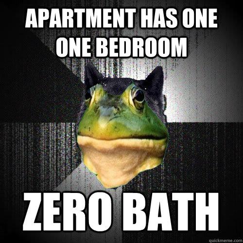 apartment has one one bedroom zero bath - apartment has one one bedroom zero bath  Insanely Foul Bachelor Frog