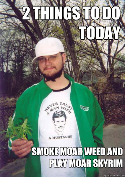 2 things to do today Smoke moar weed and play moar skyrim  - 2 things to do today Smoke moar weed and play moar skyrim   Stoner