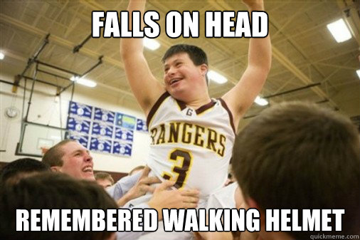 falls on head  remembered walking helmet