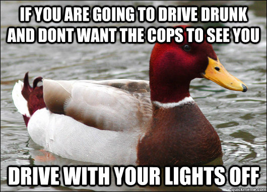if you are going to drive drunk and dont want the cops to see you drive with your lights off - if you are going to drive drunk and dont want the cops to see you drive with your lights off  Malicious Advice Mallard