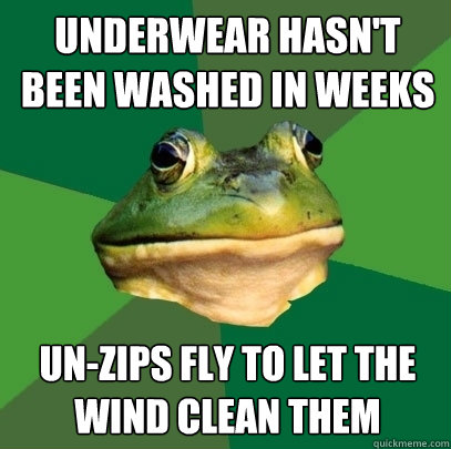 underwear hasn't been washed in weeks un-zips fly to let the wind clean them - underwear hasn't been washed in weeks un-zips fly to let the wind clean them  Foul Bachelor Frog
