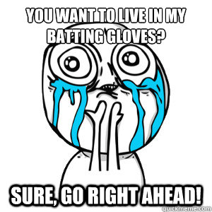 You want to live in my batting gloves? Sure, go right ahead!