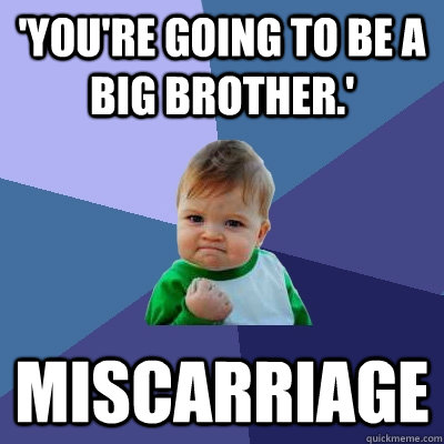 'You're going to be a big brother.' miscarriage  Success Kid