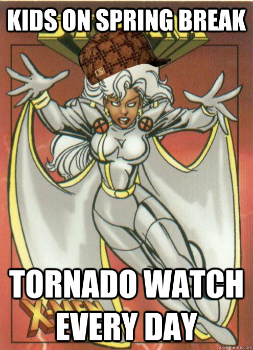Kids on spring break Tornado watch every day