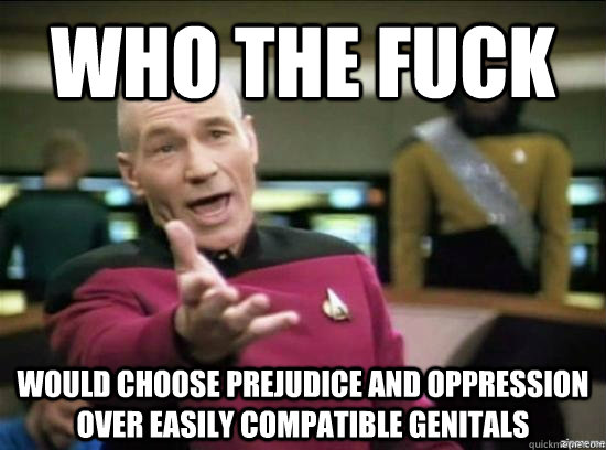 who the fuck would choose prejudice and oppression over easily compatible genitals - who the fuck would choose prejudice and oppression over easily compatible genitals  Annoyed Picard HD