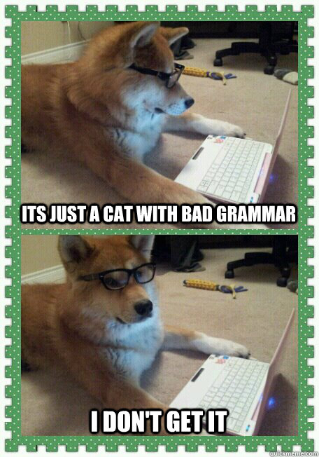 Its just a cat with bad grammar I don't get it