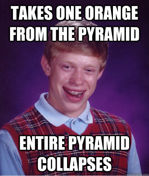 Takes one orange from the pyramid Entire pyramid collapses - Takes one orange from the pyramid Entire pyramid collapses  Bad Luck Brian