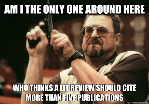 Am I the only one around here who thinks a lit review should cite more than five publications - Am I the only one around here who thinks a lit review should cite more than five publications  Am I the only one