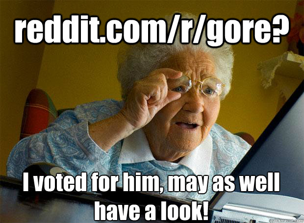 reddit.com/r/gore? I voted for him, may as well have a look!   - reddit.com/r/gore? I voted for him, may as well have a look!    Grandma finds the Internet
