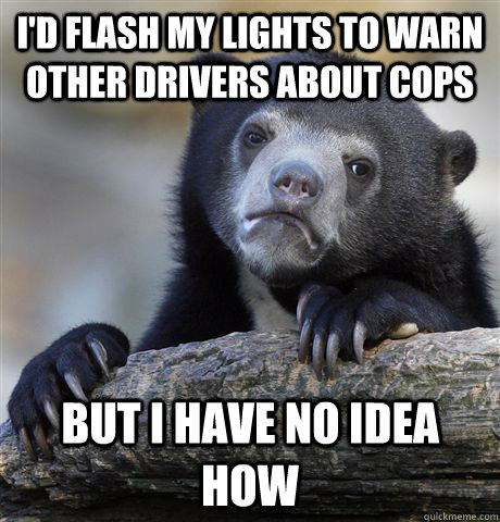I'd flash my lights to warn other drivers about cops but I have no idea how - I'd flash my lights to warn other drivers about cops but I have no idea how  Confession Bear