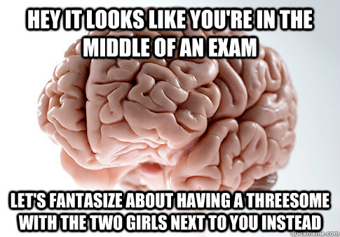 Hey it looks like you're in the middle of an exam Let's fantasize about having a threesome with the two girls next to you instead - Hey it looks like you're in the middle of an exam Let's fantasize about having a threesome with the two girls next to you instead  Scumbag Brain
