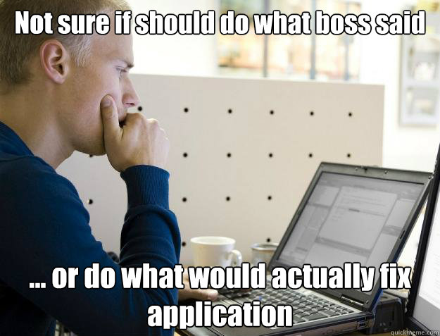 Not sure if should do what boss said ... or do what would actually fix application - Not sure if should do what boss said ... or do what would actually fix application  Programmer