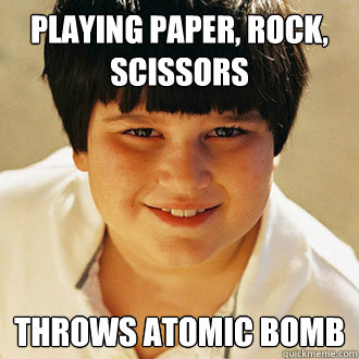 Playing paper, rock, scissors throws atomic bomb