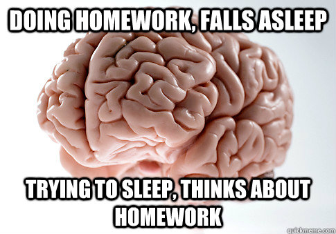 Doing homework, falls asleep Trying to sleep, thinks about homework - Doing homework, falls asleep Trying to sleep, thinks about homework  Scumbag Brain