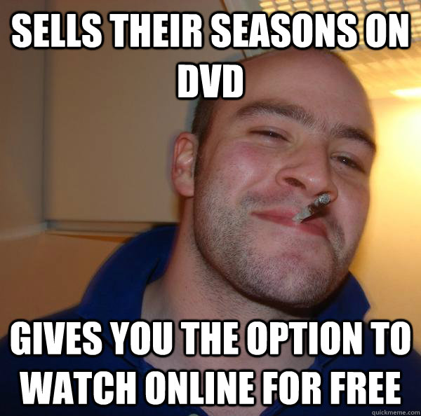 Sells their seasons on DVD Gives you the option to watch online for free - Sells their seasons on DVD Gives you the option to watch online for free  Misc
