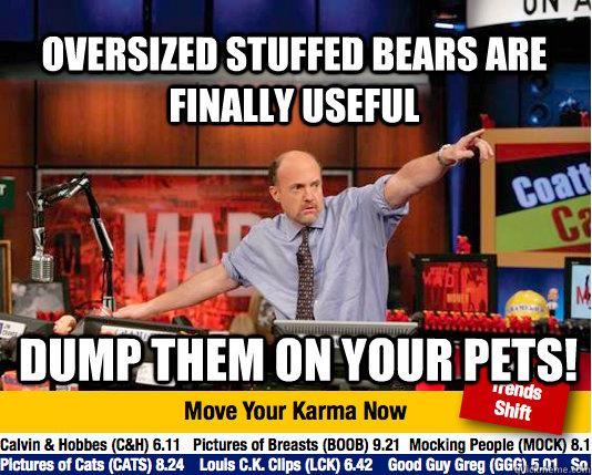 Oversized stuffed bears are finally useful Dump them on your pets!  Mad Karma with Jim Cramer