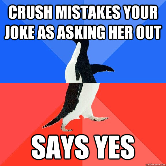 crush mistakes your joke as asking her out says yes - crush mistakes your joke as asking her out says yes  Socially Awkward Awesome Penguin