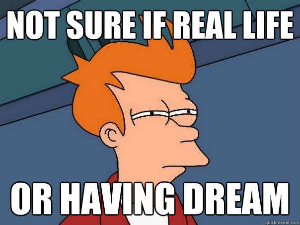 not sure if real life or having dream - not sure if real life or having dream  Futurama Fry