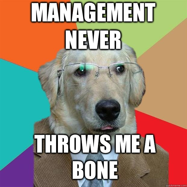 Management Never Throws me a bone  Business Dog