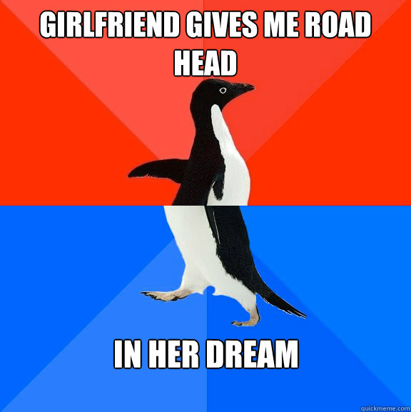 Girlfriend gives me road head in her dream