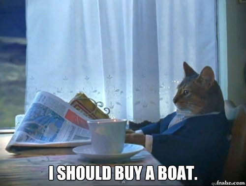 I should buy a boat. -  I should buy a boat.  Contemplative Breakfast Cat