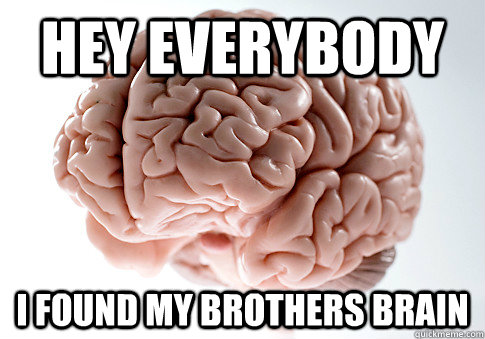 hey everybody  i found my brothers brain  - hey everybody  i found my brothers brain   Scumbag Brain