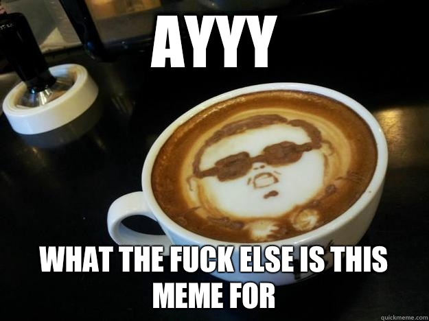 AYYY What the fuck else is this meme for  Gangam Style latt