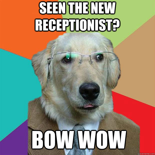 seen the new receptionist? bow wow - seen the new receptionist? bow wow  Business Dog