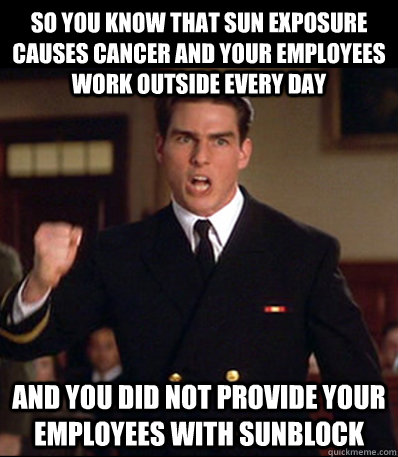 So you know that sun exposure causes cancer and your employees work outside every day And you did not provide your employees with sunblock - So you know that sun exposure causes cancer and your employees work outside every day And you did not provide your employees with sunblock  Misc