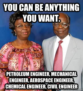 You can be anything you want. Petroleum engineer, mechanical engineer, aerospace engineer, chemical engineer, civil engineer  - You can be anything you want. Petroleum engineer, mechanical engineer, aerospace engineer, chemical engineer, civil engineer   African Parents