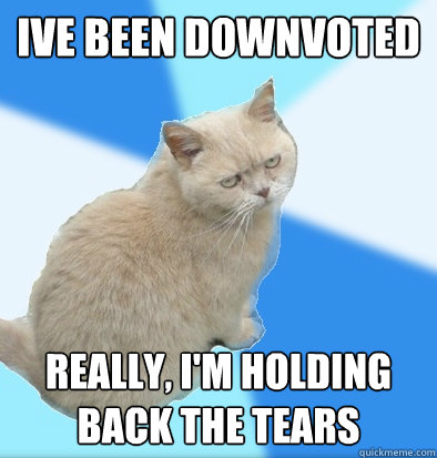Ive been downvoted Really, I'm holding back the tears  Unamused Fat Cat
