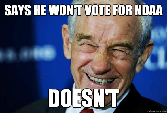 Says he won't vote for NDAA doesn't