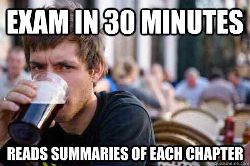 exam in 30 minutes reads summaries of each chapter