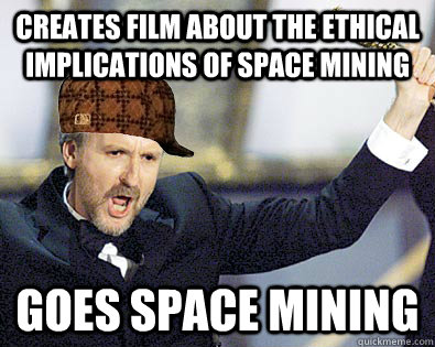 Creates film about the ethical implications of space mining Goes space mining