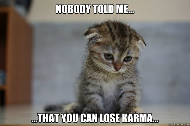 Nobody told me... ...that you can lose karma... - Nobody told me... ...that you can lose karma...  Sad Kitten