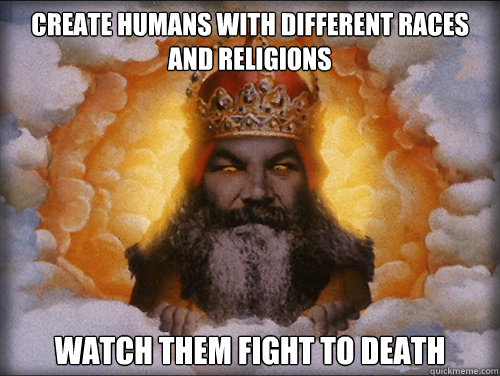 create humans with different races and religions watch them fight to death