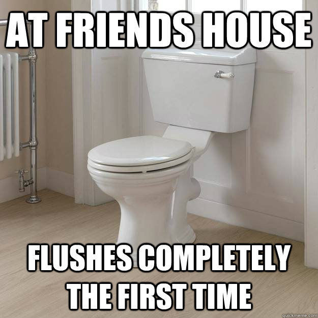 At friends house flushes completely the first time
