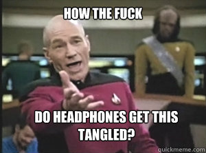 How the fuck do headphones get this tangled? - How the fuck do headphones get this tangled?  Annoyed Picard