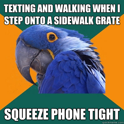 texting and walking when i step onto a sidewalk grate squeeze phone tight - texting and walking when i step onto a sidewalk grate squeeze phone tight  Paranoid Parrot