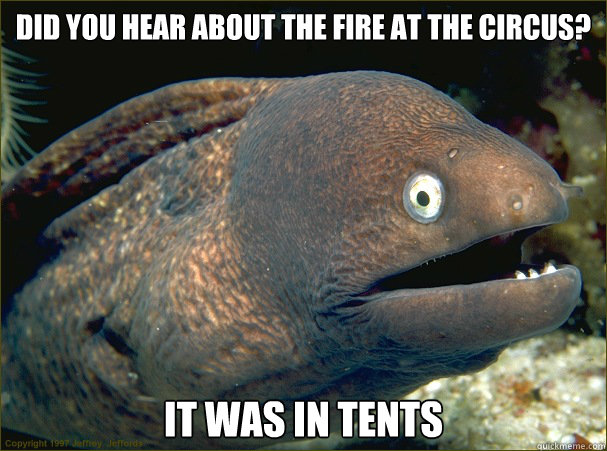 Did you hear about the fire at the circus? It was in tents - Did you hear about the fire at the circus? It was in tents  Bad Joke Eel