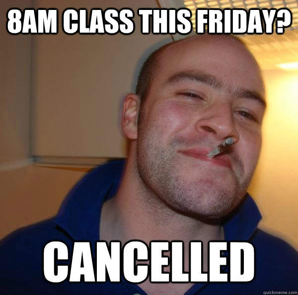 8AM class this friday? Cancelled   - 8AM class this friday? Cancelled    Misc