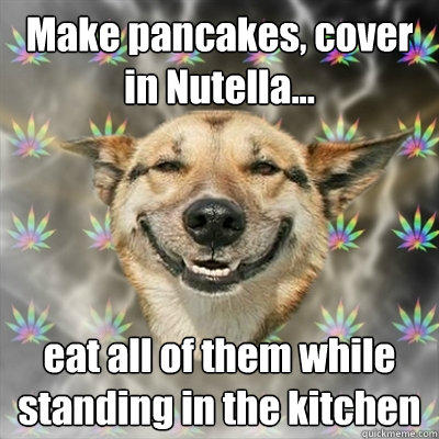 Make pancakes, cover in Nutella... eat all of them while standing in the kitchen - Make pancakes, cover in Nutella... eat all of them while standing in the kitchen  Stoner Dog