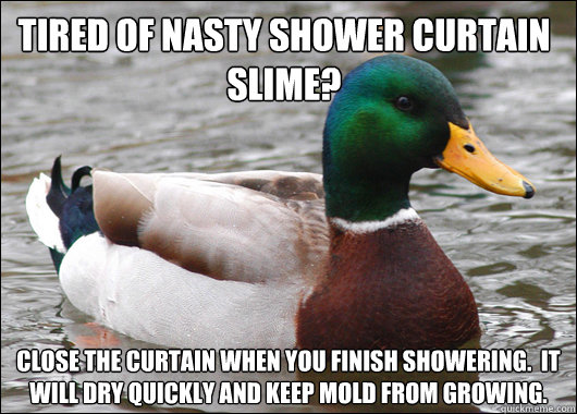 tired of nasty shower curtain slime? close the curtain when you finish showering.  It will dry quickly and keep mold from growing. - tired of nasty shower curtain slime? close the curtain when you finish showering.  It will dry quickly and keep mold from growing.  Actual Advice Mallard