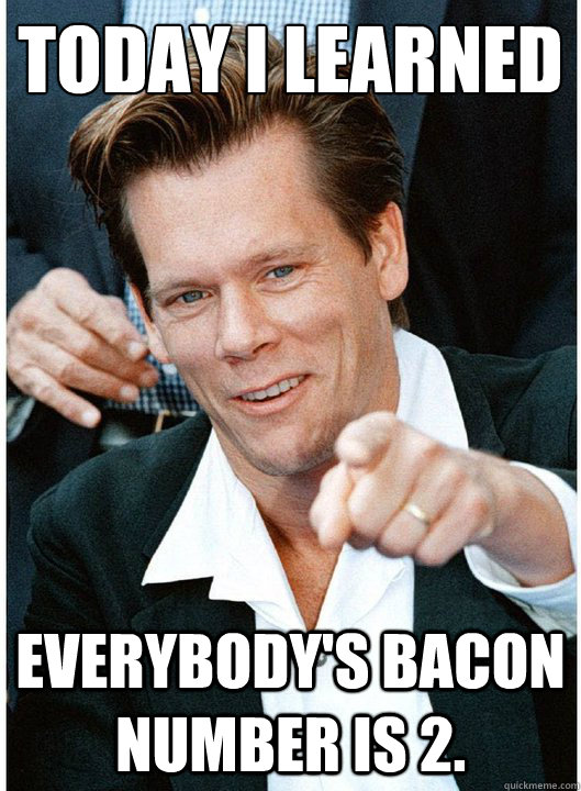 Today I learned Everybody's Bacon number is 2. - Today I learned Everybody's Bacon number is 2.  Tricky Kevin Bacon