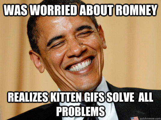 Was worried about Romney Realizes Kitten Gifs Solve  all Problems