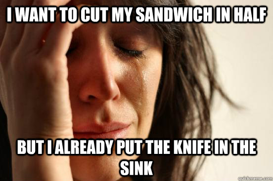 I want to cut my sandwich in half but I already put the knife in the sink - I want to cut my sandwich in half but I already put the knife in the sink  First World Problems